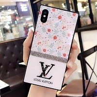 LV GUCCI DIOR SUPREME HERMES Flower Series Popular Glass Shining Diamond iPhone Cover Case For iPhone X 8 8 Plus 7 7 Plus 6 6 Plus I13084-1