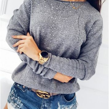 Long Sleeve Round-neck Tops [256901447706]