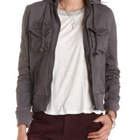 Hooded Cotton Bomber Jacket by Charlotte Russe