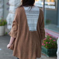 Pretty in Lace Sweater Cardigan {Camel}