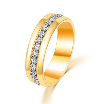 Gold and Silver Crystal Wedding Rings for Women Men Stainless Steel Ring anillos mujer anel Titanyum CS12