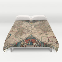 Vintage Map of The World (1641) Duvet Cover by BravuraMedia | Society6