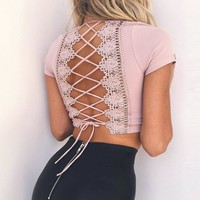 Sexy Women Bodycon Crop Top V-Neck Short Sleeve Summer Lace Top Solid Crochet T Shirt