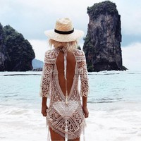 Sexy Backless Bikini Cover Up Knitted Swimsuit Cover Up Sexy Summer