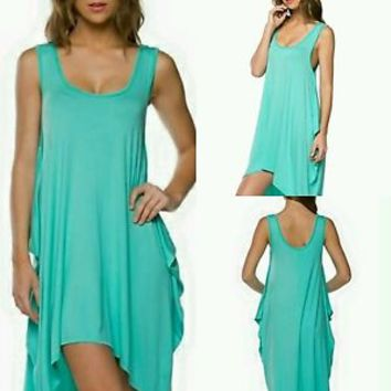 Women's Turquoise High- Low Small, Medium, Large Button in Back Detail Dress