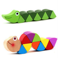 Wooden Crocodile Caterpillars Toys Baby Kids Educational Colours Gift 3C