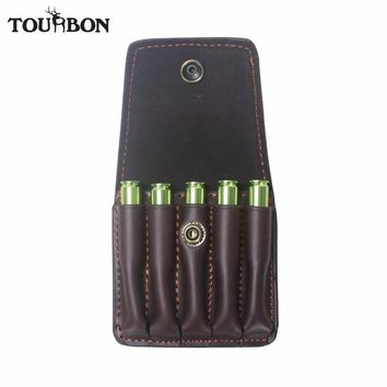 Tourbon Hunting Shooting Rifle Cartridges Holder Leather Ammo Shells Pouch for Ammunition Bullet Carrier Wallet Gun Accessory