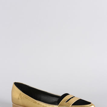 Bamboo Penny Loafer Metallic Flat