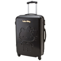 Hello Kitty Zip Around Travel Carry Bag Suitcase Relief Black Large Size TSA SANRIO JAPAN