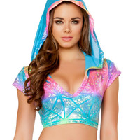 Rainbow Laser Holographic Short Sleeve V Neck Hoodie