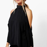 Ruby Open Shoulder High Neck Blouse | Boohoo