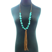 Montana West NKS160227-13TQ/DBRN Suede Cord TQ Nuggets With Small Beads in B/W & Tassel Necklace