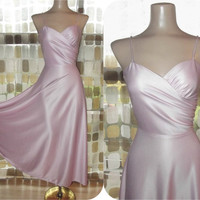 Vintage 70s Sexy Pink Dirty Dancing Full Sweep Disco Dress S/M Midi