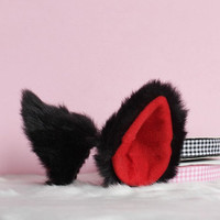 Black long Fur inner red Cat Ear Cosplay Costumes Party Black Friday Cyber Monday Costume Cosplay Party