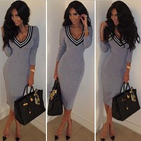 Casual Long Sleeve V neck Stretch Bodycon Dress