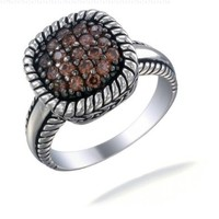 Vir Jewels Sterling Silver Champagne CZ Ring In Size 8