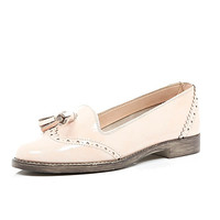 River Island Womens Light pink patent wingtip tassel loafers