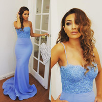 Spaghetti Straps Cheap Bridesmaid Dresses Lace Open Back Long Sexy Mermaid 2017 Wedding Dress Prom Party Gowns