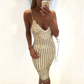 Gold Stripped Perfect Cocktail Dress