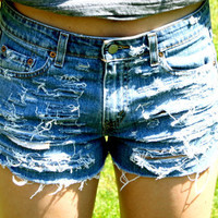 Levis distressed denim shorts by MFjewels on Etsy