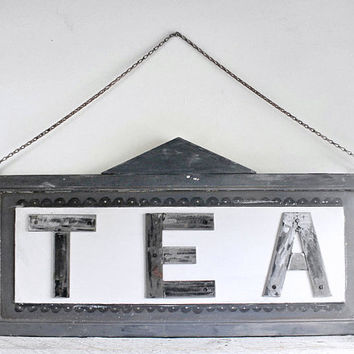 Handmade Industrial Cafe Sign, Tea, Signage from Vintage Components, Home and Restaurant Decor