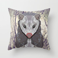 Ornate Opossum Throw Pillow by ArtLovePassion