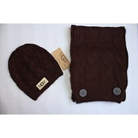 x1love  UGG Women Men Winter Knit Hat Cap Scarf Set Two-Piece