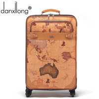 danxilong men retro PU map  luggage bag women Retro travel suitcase bags universal wheels trolley rolling Mute 16 18 20 22 24