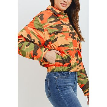 Padded Long Sleeve Camouflage Button Down Jacket with Pockets