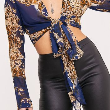 Blue Sheer Baroque Print Plunge Tie Front Choker Blouse