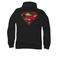 Superman War Torn Shield Logo Mens Pullover Hoodie