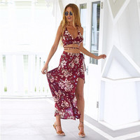 Retro Red V-Neck Floral Print Maxi Dress with Cross Strap