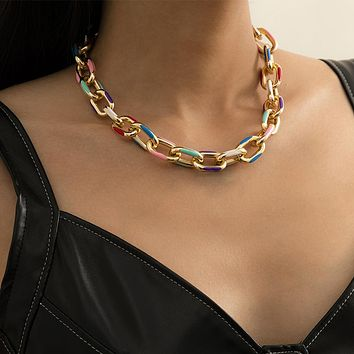 Colorful Color Aluminum Chain Choker Necklace For Women Steampunk Single Layer Cross Chain Charm Necklace Jewelry