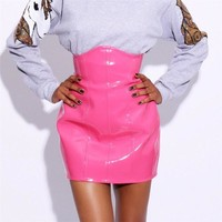 Hot Sale Pink High Waist Leather Skirt 2017 Autumn New Fashion Holographic Underbust Corset Skirts Womens  Plus Size Latex