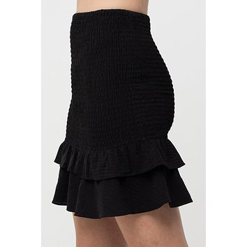 High Waisted Fitted Smocked Ruffle Flared Mini Skirt