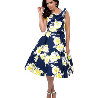 Iconic by UV Navy & Yellow Scoop Neck Belted Fleur Swing Dress