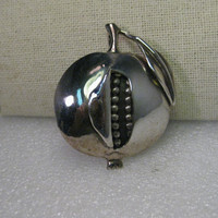 Vintage Sterling Silver Pomegranate Brooch Pendant Combination, Jewish Federation of Allentown, PA, Numbered
