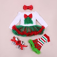 4PCs per Sets Infant Girl Clothes Green Red Newborn Baby Girls Christmas Dress Shoes Leggings Headband