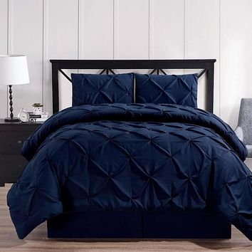 Navy Oxford Double Needle Luxury Soft Pinch Pleated