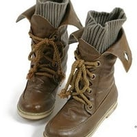 Fashion Vintage Lace up Women Motorcycle Winter Snow Boots, All year round boots = 1947037188