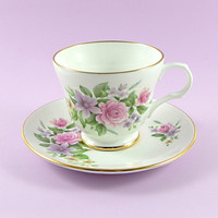 Vintage Tea Cup and Saucer, English Bone China, Sadler Wellington, Pastel Flowers, Roses, Clematis, Pink Lavender Lilac