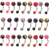 Bulks 12pcs Lots Navel Belly Button Bars Ring Barbell Ball Piercing Body Jewelry