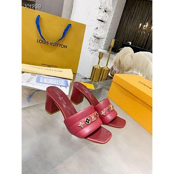 Louis Vuitton LV Women's Leather High-heeled Sandals Shoes 06055