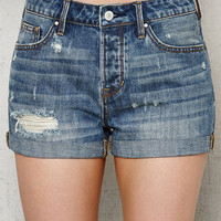 PacSun Boston Blue Ripped Cuffed Denim Girlfriend Shorts at PacSun.com