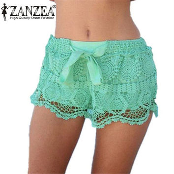 Hot Summer Style Shorts 2015 Fashion Women Casual Lace Drawstring Hollow Out Shorts Solid Beach Hot Shorts Plus Size