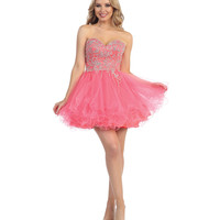 Coral Embellished Beaded Sweetheart Dress 2015 Homecoming Dresses
