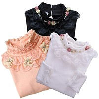 autumn winter children sweater outerwear kid girls clothing crew neck sweater baby girls Lace Sweater child shirt suit