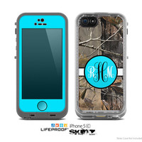 The Real Camouflage Turquoise Custom Monogram Skin for the Apple iPhone 5c LifeProof Case
