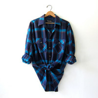 20% OFF SALE...Vintage Plaid Flannel / Grunge Shirt / Oversized button up shirt / Preppy flannel