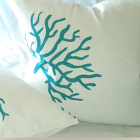 Pillow cover WhiteTurquoise Coral Design Linen 18 X 18 Pillow cover